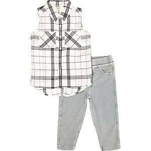 Mini girls grey check shirt leggings outfit
