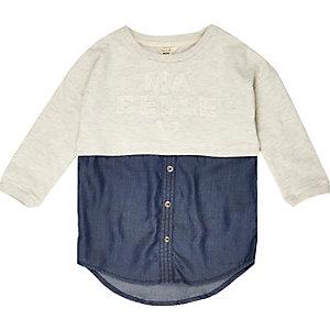 Mini girls cream layered sweater shirt