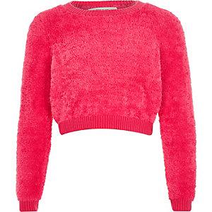 Girls bright pink super soft fluffy sweater