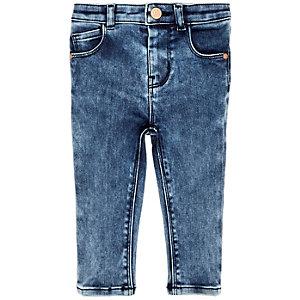 Mini girls marble wash skinny jeans
