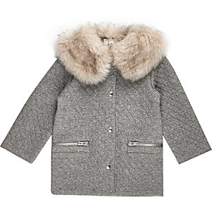 Mini girls grey quilted coat