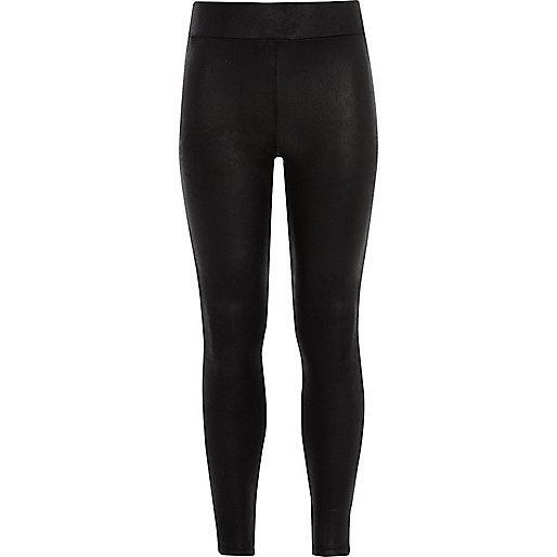 Girls black wet look leggings