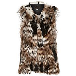 Girls brown patchwork faux-fur vest