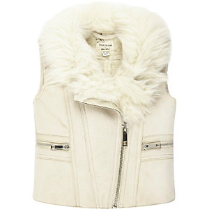 Mini girls cream faux fur vest