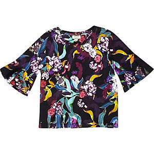 Mini girls black floral frill sleeve top