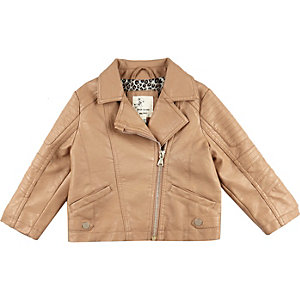 Mini girls brown leather look biker jacket