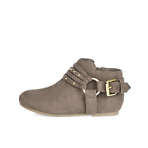 Mini girls grey plaited ankle boots