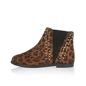 Mini girls brown leopard print boots