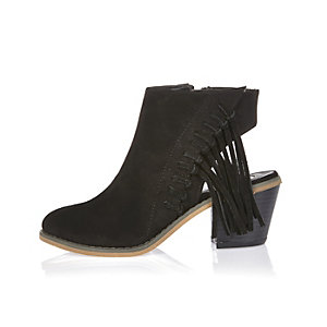 Girls black fringed cut-out boots