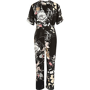 Girls black floral print jumpsuit