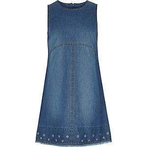 Girls blue denim eyelet shift dress