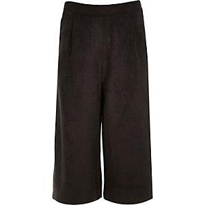 Girls black faux suede culottes