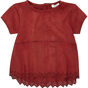 Mini girls red faux suede top