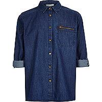 Girls blue denim minimal shirt