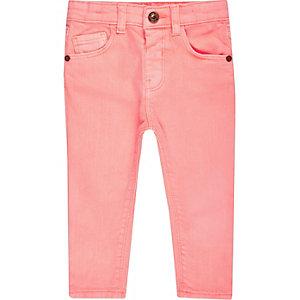 Mini girls light coral skinny jeans
