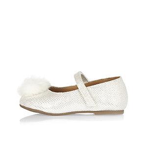 Mini girls white pom pom ballerina shoes