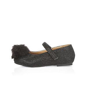 Mini girls black pom pom ballerina shoes