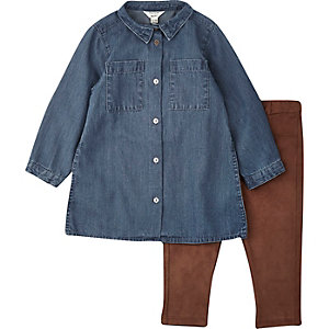 Mini girls denim dress and leggings outfit