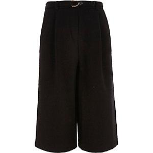 Girls black belted culottes