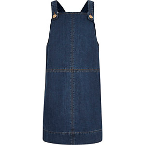 Girls blue denim dungaree dress