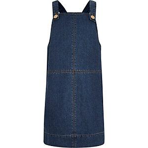 Girls blue denim dungaree dress