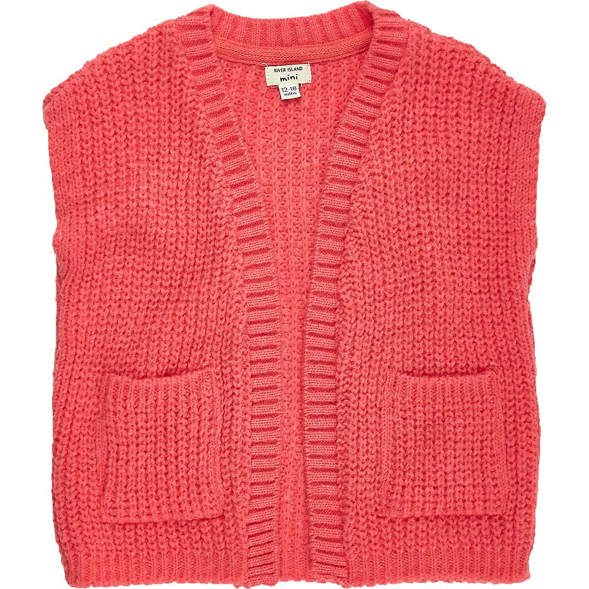 Mini girls knitted sleeveless jacket
