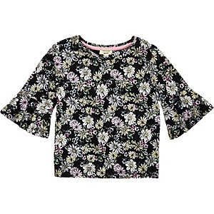 Mini girls floral print fluted sleeve top