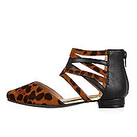 Girls brown leopard caged flats
