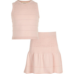 Girls pink knitted top skirt co-ord outfit