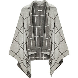 Girls grey check cape