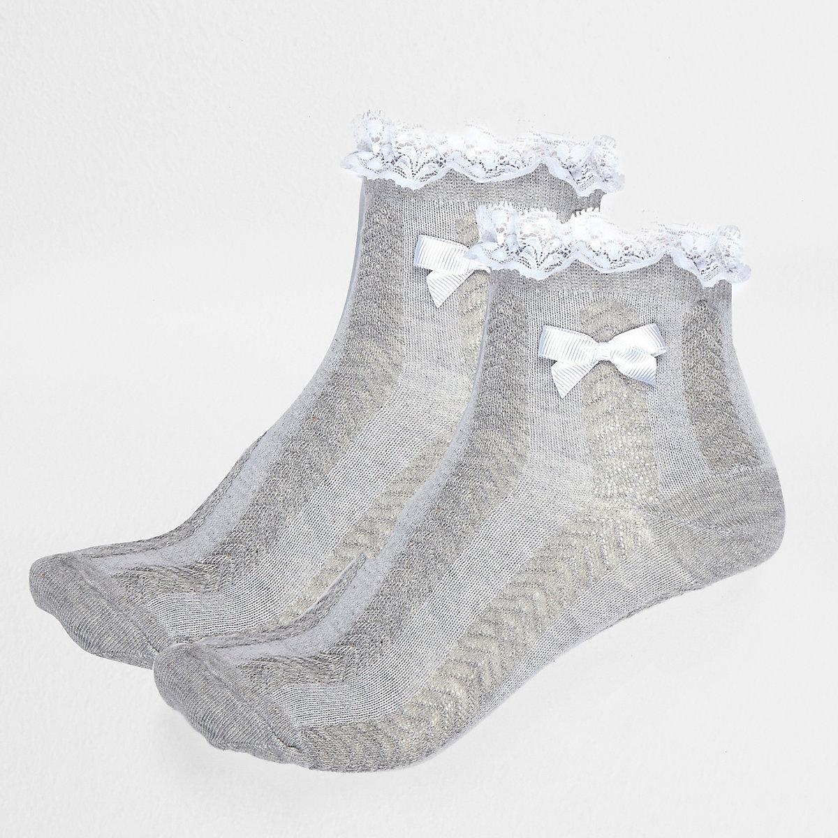 Girls grey frilly socks multipack