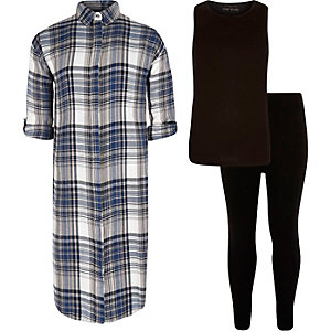 Girls blue check vest and leggings outfit