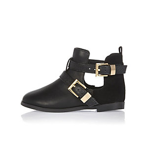 Mini girls black cut-out side boots