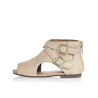 Mini girls beige cut out shoe