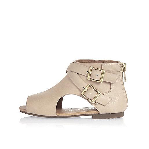 Chaussures beige à découpes mini fille