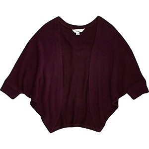 Mini girls dark purple cardigan