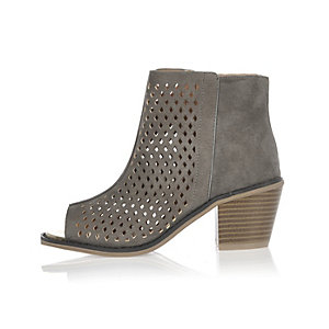 Girls grey laser cut peep toe boots