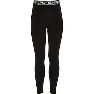 Zwarte legging met logo voor meisjes