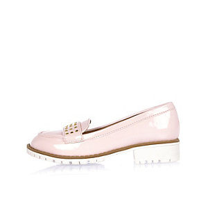 Girls light pink studded loafers