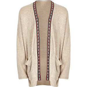 Girls beige slouchy cardigan