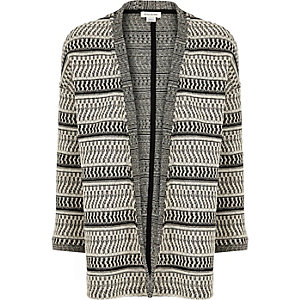 Girls black stripe knitted cardigan