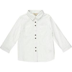 Mini girls white smart button-up shirt