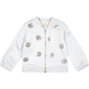 Mini girls grey embellished bomber jacket