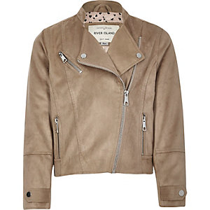 Girls beige faux suede biker jacket