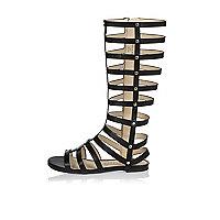 Girls knee high gladiator sandals
