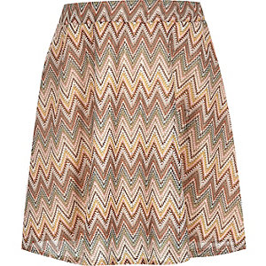 Girls orange lace zig zag skater skirt