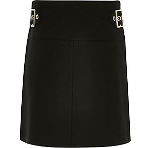 Girls black buckle A-line skirt