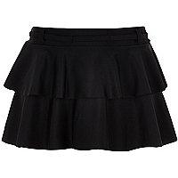 Girls black ruffle swim skirt