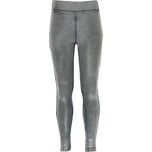 Girls grey denim leggings