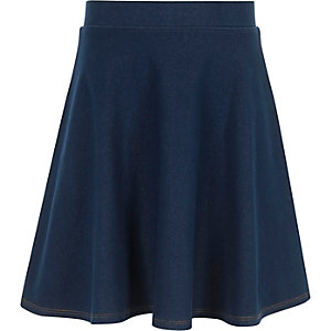 Girls blue denim circle skirt